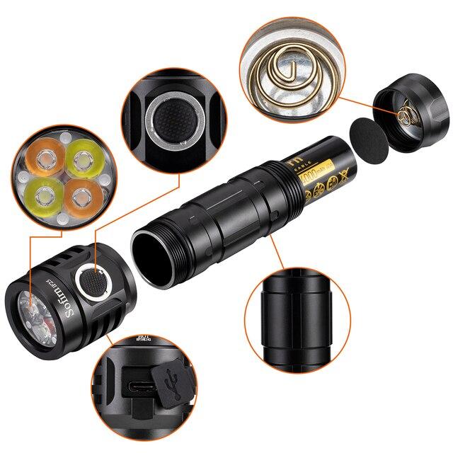 Sofirn i25 puissant lampe de poche LED Rechargeable, 2500lm, lumière de couleur à température Variable de 2700K à 6500 K, Topic de produits 4 pièces