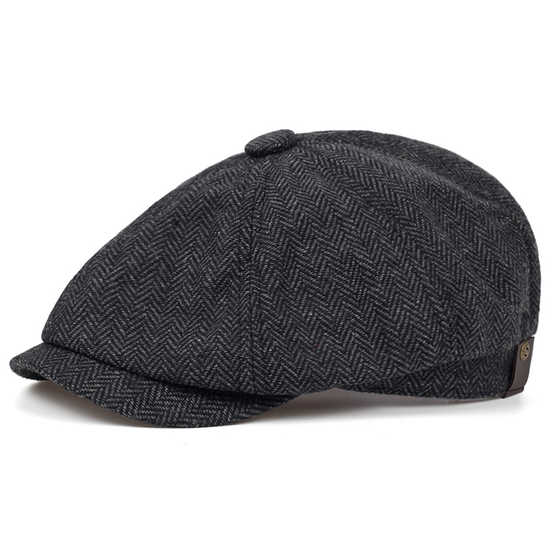 2019 New Fashion Brown Plaid Beret Hat Male Cotton% Hip Hop Hats Autumn And Winter Outdoor Leisure Cap High Quality Caps