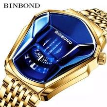 Часы binbond мужские спортивные брендовые Роскошные модные золотистые