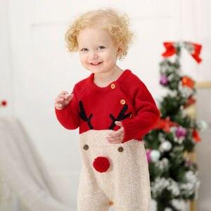 Nowonarodzone dziecko chłopiec dziewczyna ciepłe dzianiny boże narodzenie renifer drukowane kombinezon Romper z długim rękawem ubrania zestaw kostium Unisex strój