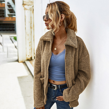 Designer's Independent Station Cross-Border 2020 Autumn and Winter Thick Warm Lapel Fur Coat Female 7