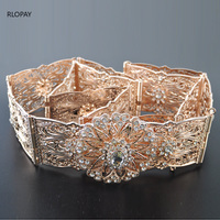 Rose gold bridal waist belts with hollow flower belt buckle crystal Bridal Sashes Can Customize Any Size