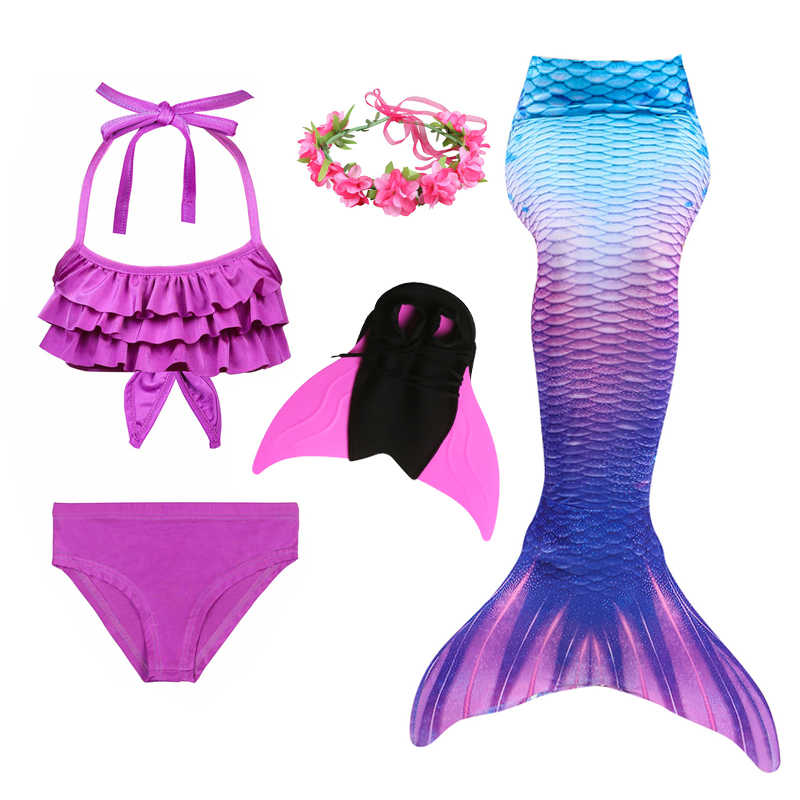 2018 Girls Kids Children Mermaid Tails for Swimming Costume Swimmable Bikini Bathing Swimsuit Little Mermaid Tail Cosplay
