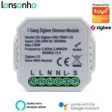 Lonsonho tuya zigbee 3.0 módulo interruptor dimmer inteligente com/sem neutro 2 vias de controle sem fio interruptor relé suporte zigbee2mqtt