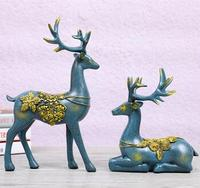 A Pair Beautiful Animal Deers Home Jewelry European style Creative Gift Couple Marriage Gift Decoration Resin Handicraft