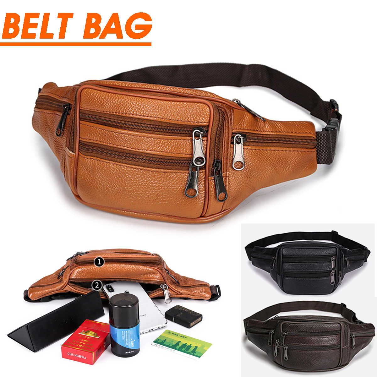 Portable Male Men's Vintage Leather Waist Bag Zip Pocket Genuine Leather Pack Casual Functional Money Phone Cigarette Belt Bag