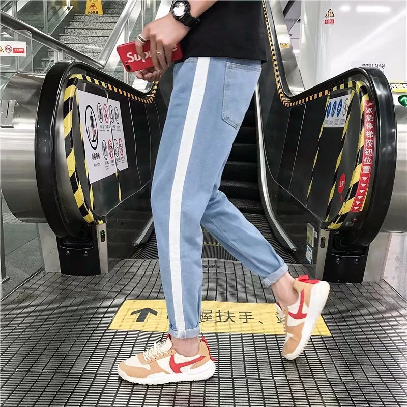 MEN'S Jeans 2018 Summer Korean-style Slim Fit Side Edge White Skinny Pants Teenager Students MEN'S Trousers