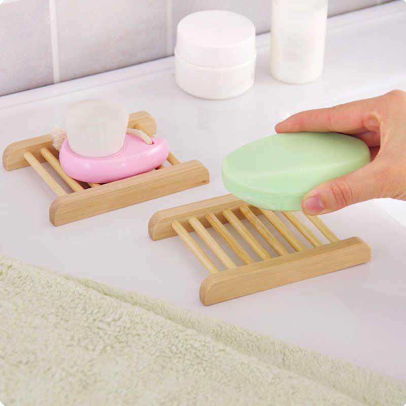 Bamboo Wooden Storage Holder Soap Shelf Soap Dishes Box Tray Case Storage Rack