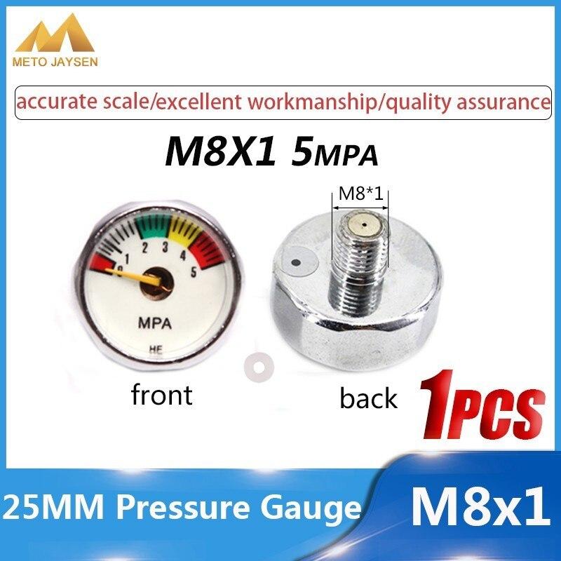 High Pressure Gauge 25mm M8x1 1 Inch Air Mini Manometre PCP Paintball Airforce Pump Scuba Diving Valve Gauge 5mpa 30mpa 40mpa