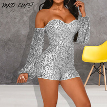Sexy Off Shoulder Backless Sequined Rompers Women Jumpsuit One Piece Overalls Long Sleeve Ladies Short Party Playsuits Clubwear