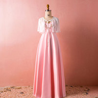 Evening Dress Elegant A line Pink Long Floor Length with Straps and Shawl Sleeveless Party Gowns Custom Made Dresses