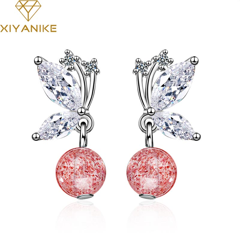 XIYANIKE 925 Sterling Silver New Fashion Creative Crystal Bowknot Drop Earrings Jewelry For Women Couple Wedding Party Gift