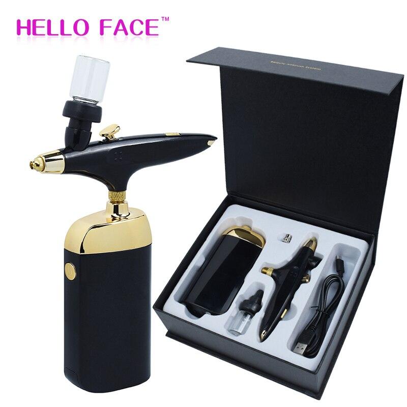 Cordless Airbrush Air Compressor Makeup Kit Spray Gun Facial Oxygen Machine Portable Serum Nano Mist Sprayer Oxygen Injection