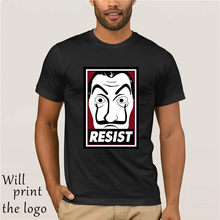 Camicia E maglietta La Casa De Resistencia Soldos Assalto Casa di Carta Camiseta Organnic degli uomini Stampa di Cotone Manica