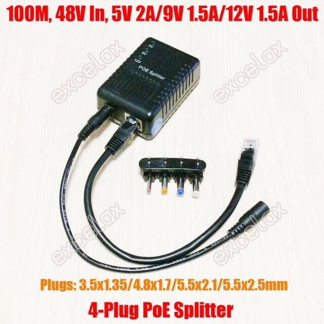100Mbps 4 تيار مستمر التوصيل 5 فولت 9 فولت 12 فولت قابل للتعديل شبكة PoE الخائن وحدة الطاقة عبر إيثرنت العرض 802.3af للكاميرا IP الأمن