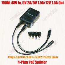 100Mbps 4 DC Cắm 5V 9V 12V Có Thể Điều Chỉnh Mạng PoE Bộ Chia Mô Đun Nguồn Qua Cung Cấp 802.3af Cho IP Camera An Ninh