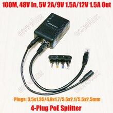 100Mbps 4 DC Plug 5V 9V 12V Adjustable Network PoE Splitter Module Power Over Ethernet Supply 802.3af for IP Security Camera