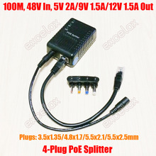 100Mbps 4 DC fiş 5V 9V 12V ayarlanabilir ağ PoE Splitter modülü Ethernet üzerinden güç kaynağı 802.3af IP güvenlik kamerası için
