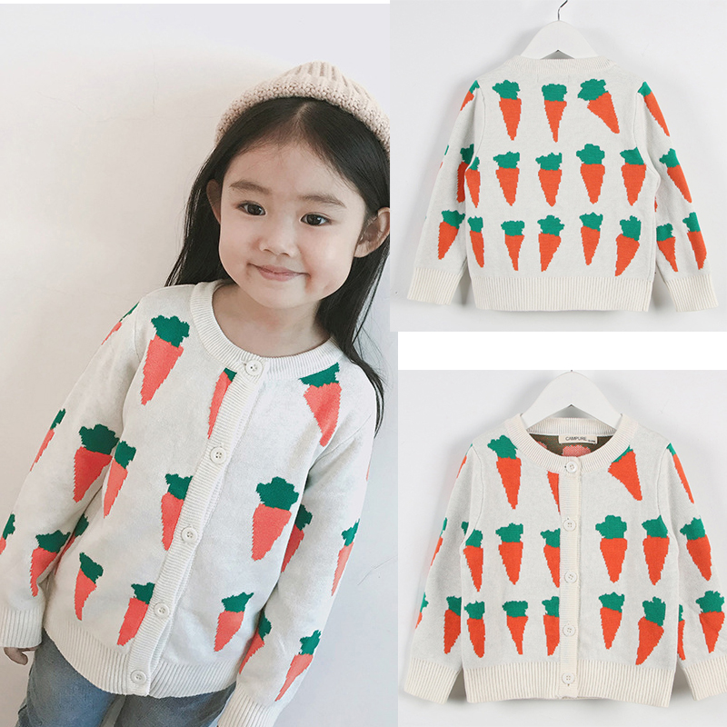 Autumn Kids Cardigans Sweaters Baby Girls Boys Knitted Outerwear Jacket Toddler Cotton Coat Printing Spring Children Sweater 2