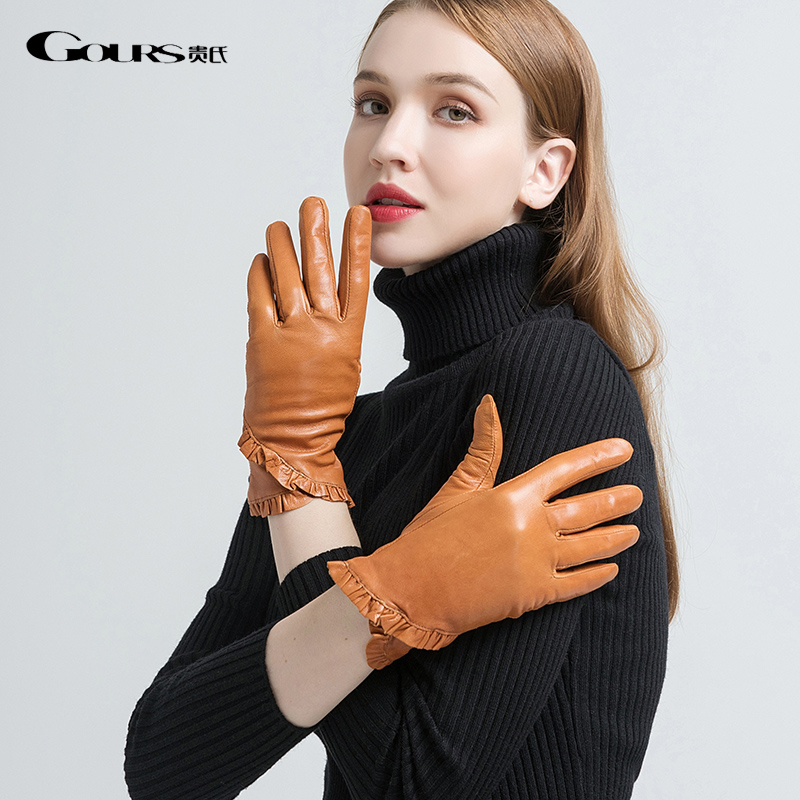 Gours Women's Genuine Leather Gloves Fashion Light Brown Goatskin Finger Gloves Warm In Winter Floral Border New Arrival GSL054