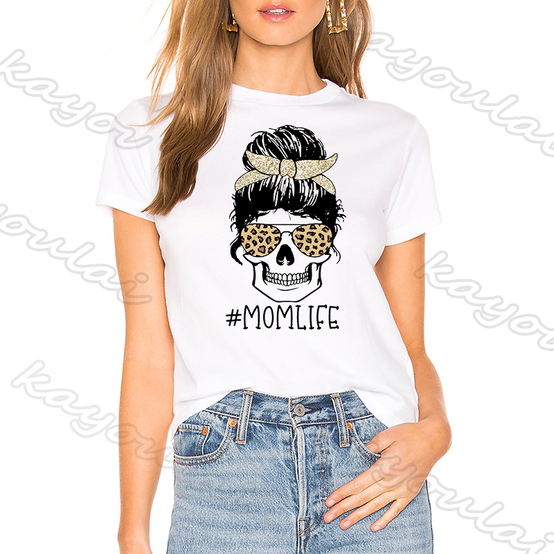 2020 New Fashion Mothers Day T Shirt Gift For Mom Aesthetic Harjuku Momlife Skull Print White Mama Shirt Vintage Clothing Women