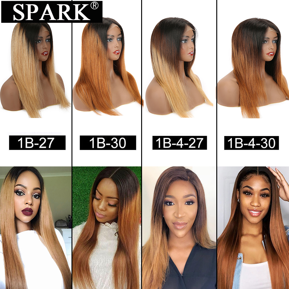 Ombre 13x4 Lace Front Human Hair Wigs Brazilian Silky Straight 4x4 HD Lace Closure Wig Blonde Color 28 Inch 180% Density SPARK