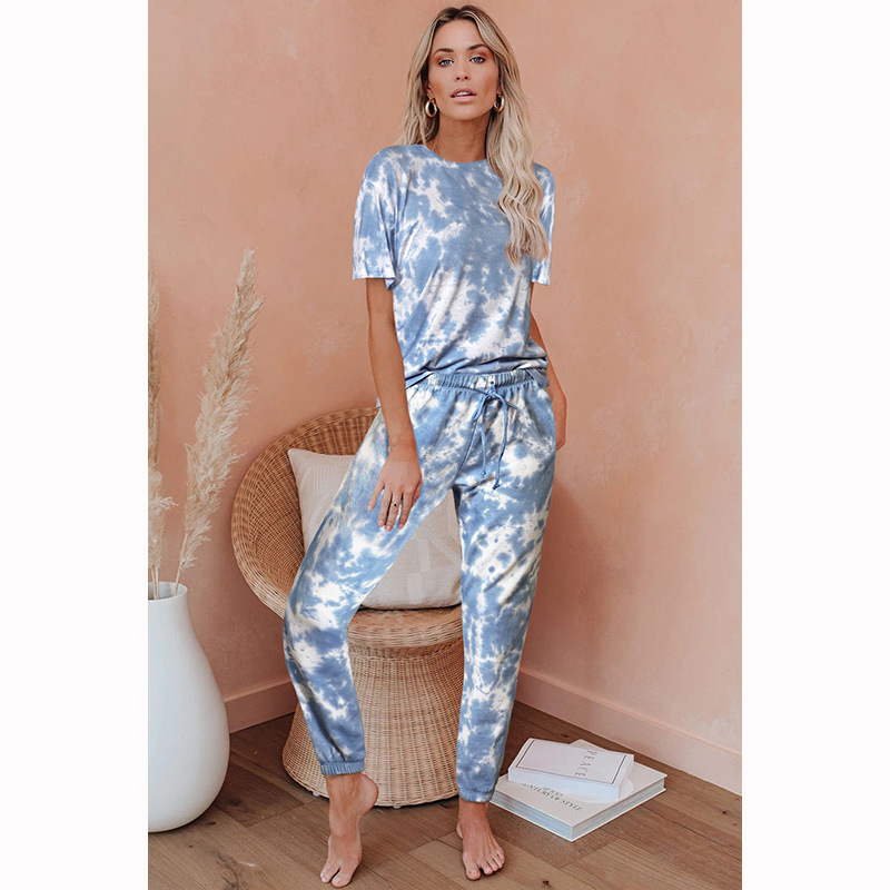 Shi Ying Tie-dye Europe And America Short Sleeve Pajamas Women's 2020 New Style Loose-Fit Gradient Color Printed Comfortable Wom