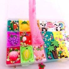 Hot Fluffy Slime Charms Accessories,Cute DIY Cloud Rainbow Panda Flower Fruit Kit,Kids,Children,Students Educational Toys