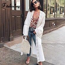 цена на Fitshinling Lace Splice Boho Beach Cover-Up 2020 Flare Sleeve Long Cardigan With Sashes Holiday Slim Sexy White Kimono Summer