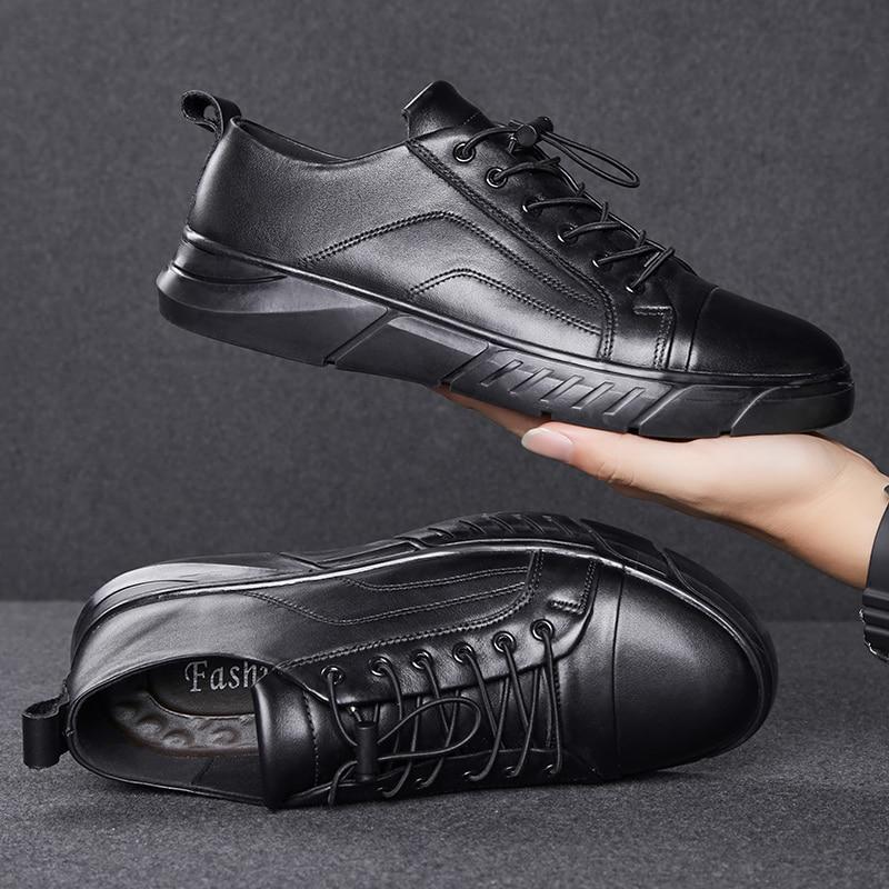 New 2019 High Quality Genuine Leather Shoes Men Flats Plus VelvetMen's Casual Shoes Brand Man Soft Comfortable Lace Up Black