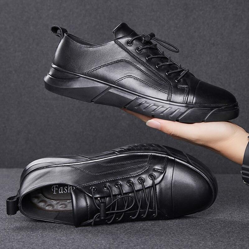 Nouveau 2019 chaussures en cuir véritable de haute qualité chaussures plates pour homme Plus velvetMen chaussures décontractées marque homme doux confortable à lacets noir