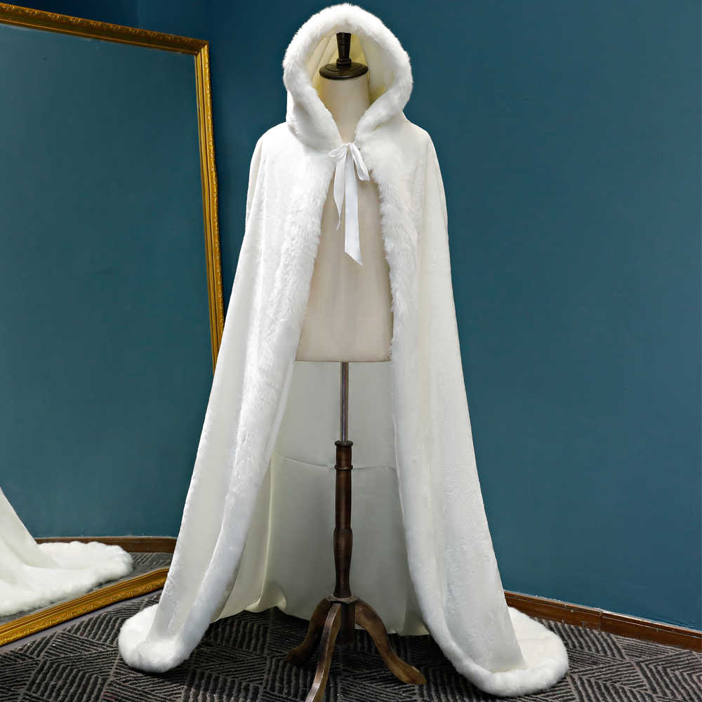 Winter Long warm Wedding capes white wedding cloak Floor Length Bride shawl Faux fur cape coat adult Bridal Wrap