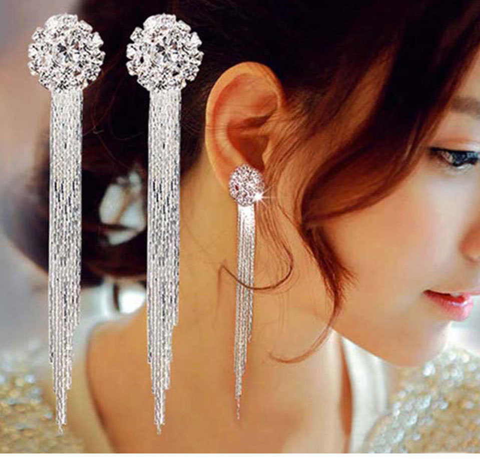 Trendy Long Tassel Crytal Party Drop Earrings For Women Silver Color Female Fashion Jewlery Shinning Luxury Hanging Earring