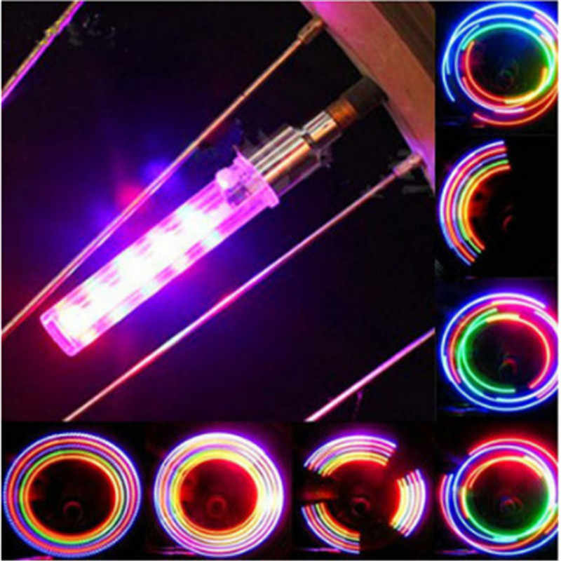 Sepeda Lampu 5 LED Sepeda Katup Ban Cap Lampu Tabung Tahan Air Gaya 7 Flash Darurat Warning Light