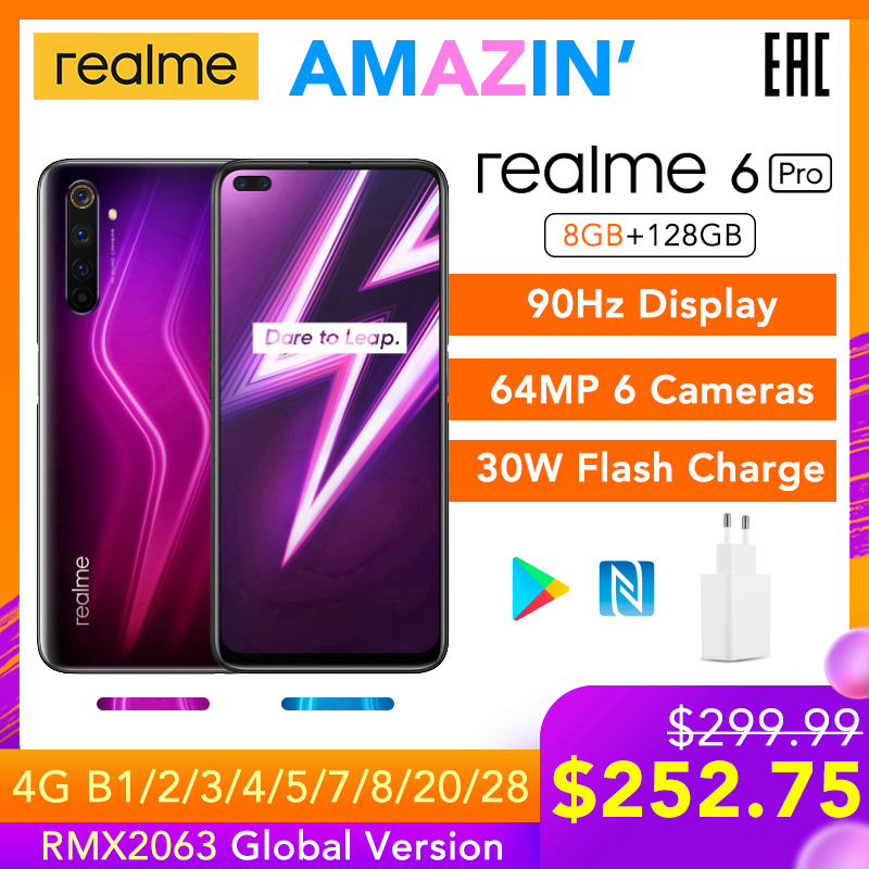 Realme 6 pro 6pro 8gb ram 128gb rom versão global do telefone móvel snapdragon 720g 30w flash carga