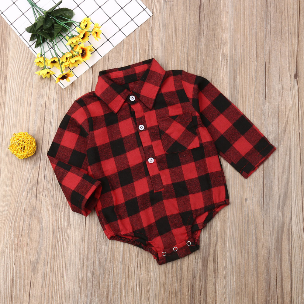 H2b4c219ee32e473c947b2cdbbc9c7484U Pudcoco Baby Girls And Boys Unisex Clothes Christmas Plaid Rompers Newborn Baby 0-18 Monthes Fits One Piece Suit Cartoon Elk New