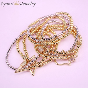Image 3 - 5PCS, CZ micro pave connector clasp with round copper beads chain bracelets