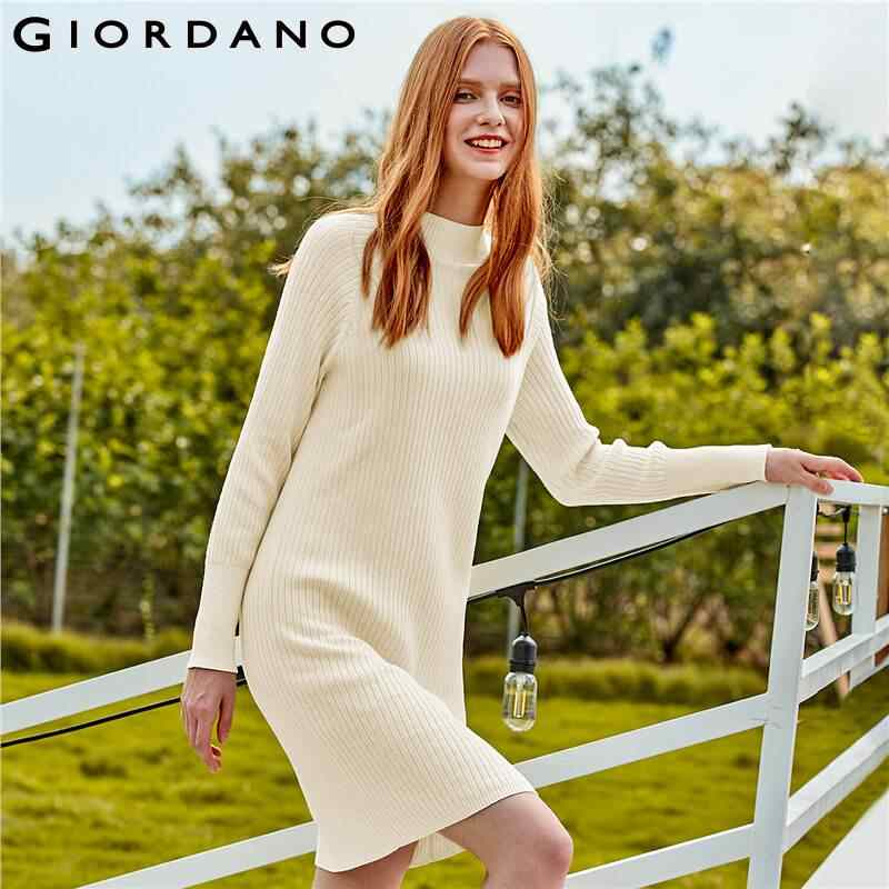 Giordano Women Dress Solid Ribbed Mockneck Knitted Dress 100% Cotton Windproof Durable Casual Robe Femme 13469815