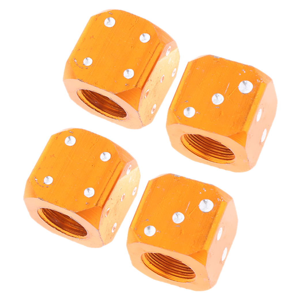 4 X Orange Dice Bike Bicycle Motorcycle Car Tyre Tire Valve Dust Cap Cover