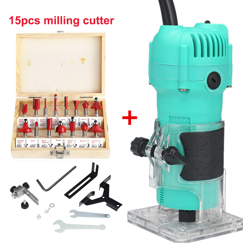 800W 30000rpm Woodworking Tools Electric Trimmer Wood Milling Hand Trimmer Router Wood Carving Machine Wood Router 220V/110V