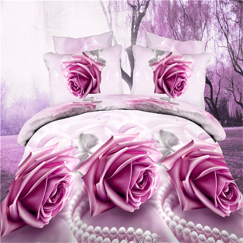 3D Floral Printed Bedclothes King Size Wedding Decorative Duvet Cover Sheet Pillowcase Romantic Red Rose Bedding Set for Adults