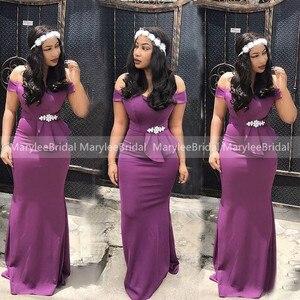 Фиолетовые платья подружки невесты русалки со стразами и бусинами 2020 с открытыми плечами для женщин Vestidos длинное платье для выпускного вечера свадебные вечерние платья