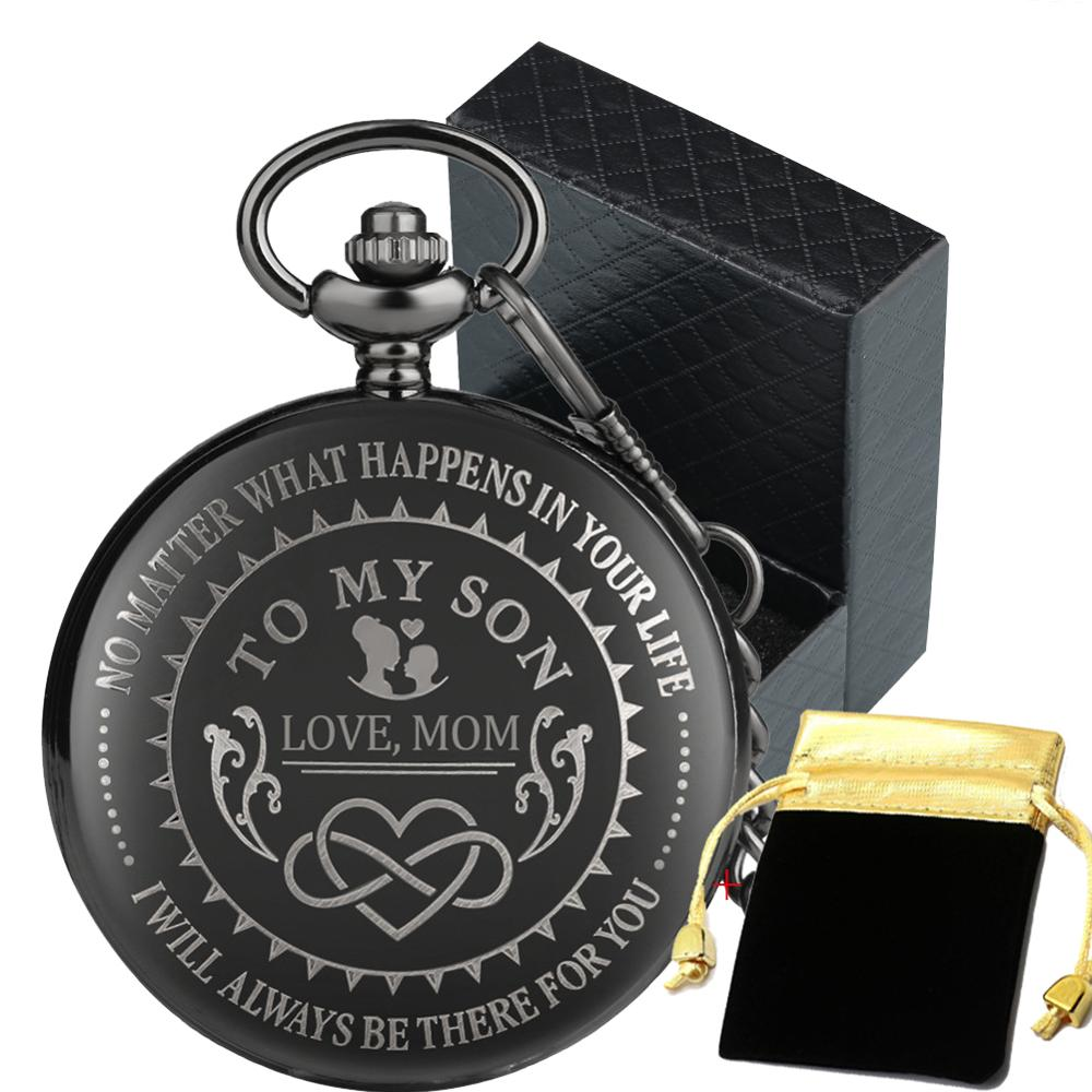 To My Son, Love Mom Personalized Antique Black Quartz Pocket Watch Roman Numerals White Dial Unique Birthday Gifts For Boy