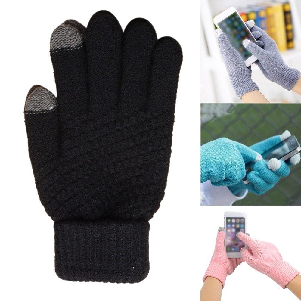 Women Men Winter Geometric Knit Click Screen Fingers Screen Warm Fleece Gloves Rekawiczki Guantes Handschoenen перчатки женские