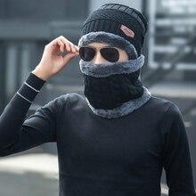 Caps Beanie Hat Scarf Knitting Child Warm Men Two-Piece-Set Thicken Soft Male Winter
