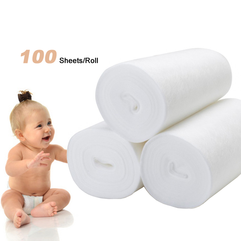 100 Sheets/Roll Flushable Disposable Diaper Heart Felt Cloth Diaper Liner Inserts Comfortable Microfiber Diapers