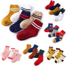 5 Pairs/lot 1-8 Years Children Socks Toddler Long Animal Nylon De Mujer Cotton Meia Kids Dog Cat Autumn Winter