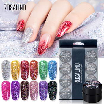 ROSALIND 12PCS/SET Shiny Silk Gel Nail Polish Manicure Kit Nail Art Design  Hybrid Glitter Platinum Gel Lacquer Top Base Coat 1