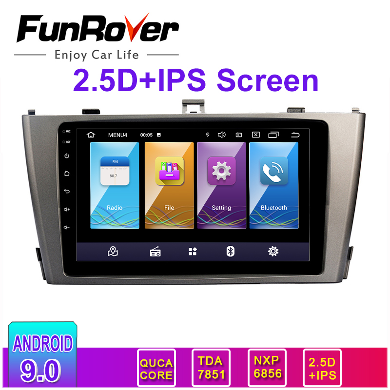 FUNROVER 2.5D+IPS <font><b>Android</b></font> 9.0 Car Radio GPS Multimedia Stereo DVD Player For <font><b>Toyota</b></font> Avensis <font><b>T25</b></font> 2003-2008 Auto Audio WIFI Video image