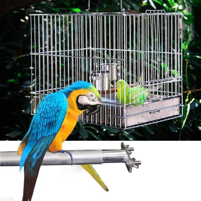 Stainless steel Birdcage Stands Bird Perch Parrot Stainless Steel Bird Standing Rod Teether M Bird cage Bird supplies